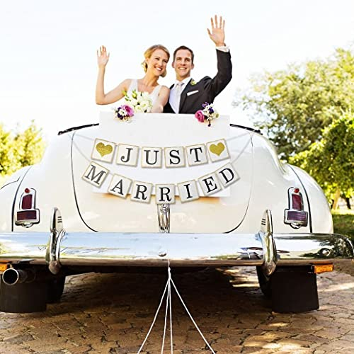Just Married Banner Sign - Wedding Bridal Shower Bachelorette Party Decorations - Wedding Car Decorations - NO DIY Required