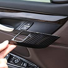 Carbon fiber Style ABS Chrome Safety Door Lock Cover Trim For BMW X5 X6 F15 F16 2014 2015 2016 2017 2018 Car Accessory Styling (Carbon fiber)