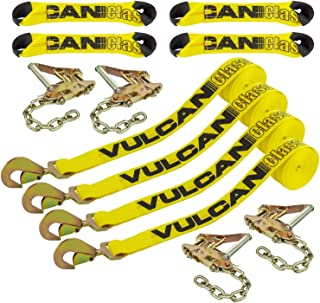 VULCAN Classic Yellow 8-Point Roll Back Vehicle Tie Down Kit with Snap Hook On Strap Ends and Chain Tail On Ratchet Ends (Set of 4) - Easily Trailer Any Car, Truck, SUV, Jeep, Or Sportscar