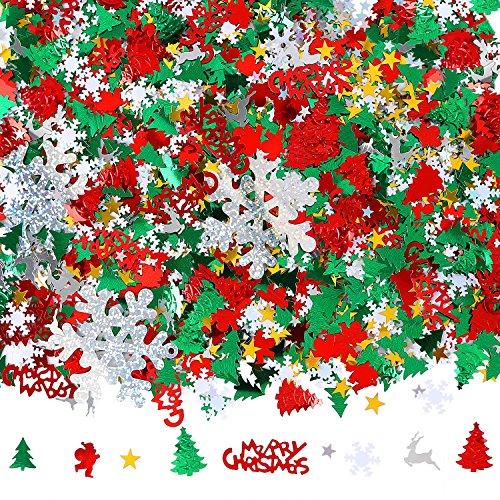 Aneco 100g/4800 Pieces Christmas Confetti Pentagram, Snowflake, Santa, Pine, Merry Christmas Alphabet, Elk Table Confetti Bright Christmas Decoration Set