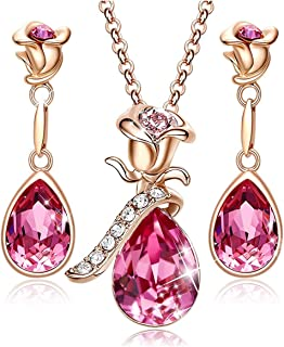 Rose Flower Jewelry Sets for Women Mother's Day Jewelry Gifts 18K Rose Gold/White Gold Plated Necklace Earrings Set Embell...