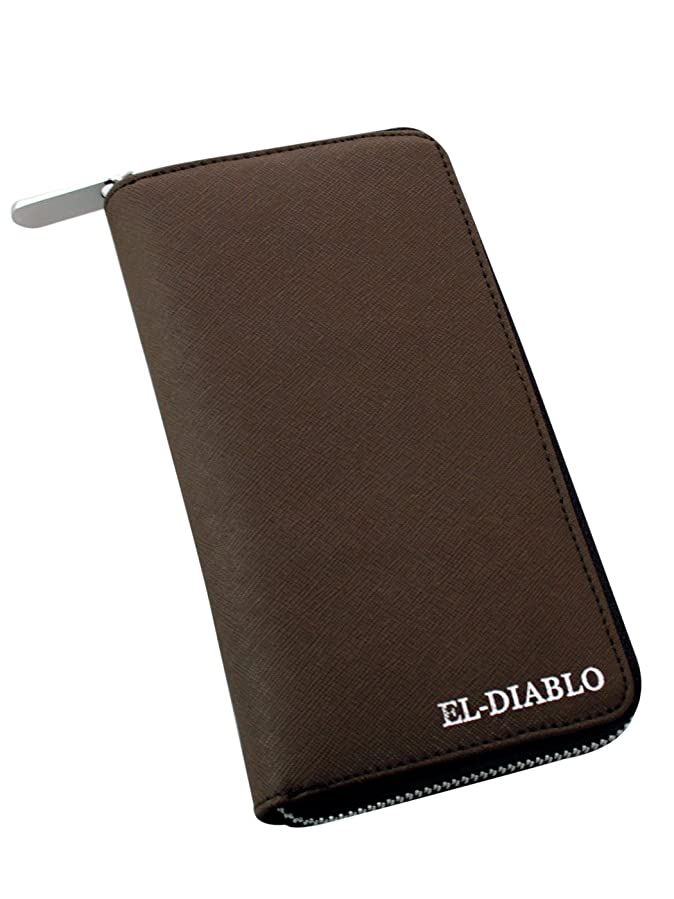 パット実際恐れ[エルディアブロ] EL-DIABLO 長財布 メンズ 本革 エンボスレザー バイカラー 大容量 ラウンドファスナー 【EL-005】