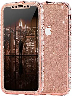 Case for iPhone XR Cover,Girls and Women Luxury Sparkly Bling Glitter Rhinestone Diamond Metal Button Bumper Case Cover & Shiny Glitter Sticker Protective Cover for iPhone XR Diamond Case,Rose Gold
