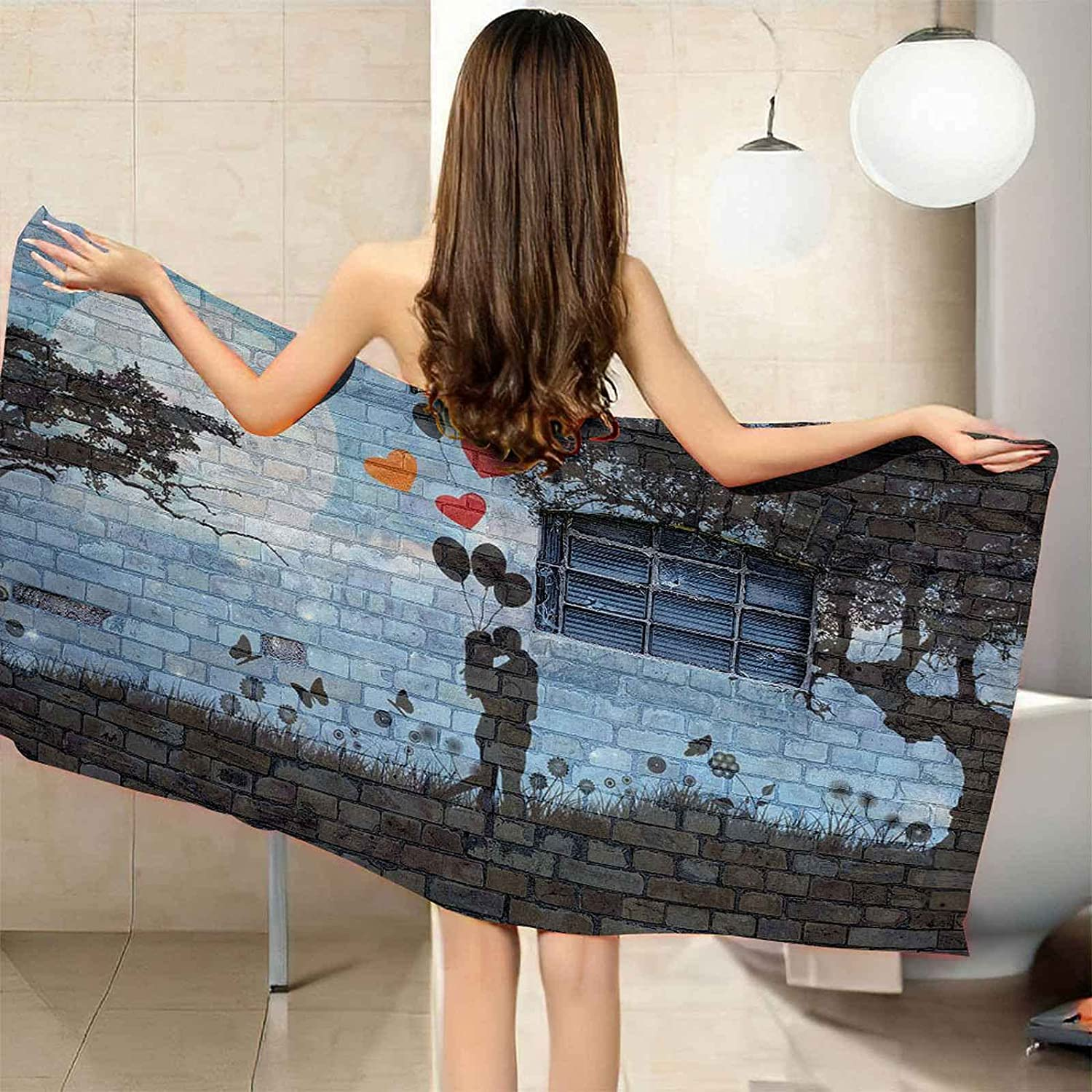 IRUAIF Microfiber Beach Towel Blue 78.7x78.7 Wall Painting Brick Brand new Limited time for free shipping