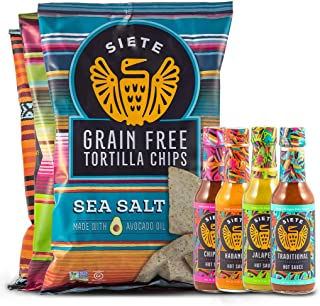 Siete Grain Free Tortilla Chips Sampler with 2 Sea Salt, 2 Lime, 2 Nacho and Flama Hot Sauce Mix