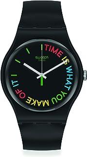 Swatch Swiss Quartz bio-sourced Plastic Strap, Black, 18 Casual Watch (Model: SO29B103)