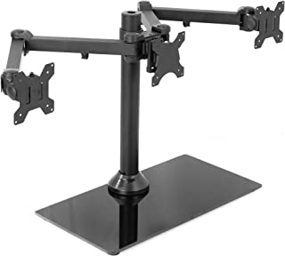 "VIVO Black Triple Monitor Mount Freestanding Desk Stand w/Glass Base | Heavy Duty Fully Adjustable Stand for Three (3) Screens up to 24"" (STAND-V003FG)"