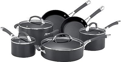 Anolon Endurance Hard Anodized Nonstick Cookware Pots and Pans Set, 10 Piece, Gray Graphite