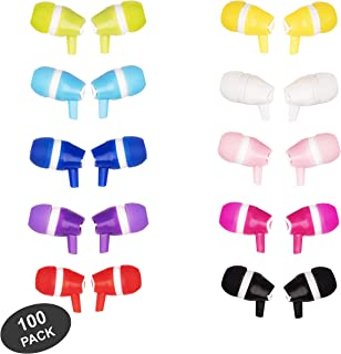 JustJamz Bubbles Colorful in-Ear Earbud Headphones 3.5 MM Bulk Earphones for iPhone Android Laptop Ideal for Students Kids...