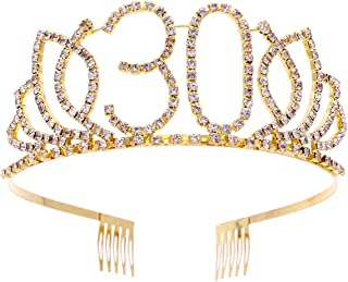 Frcolor 30th Birthday Tiara Crystal Rhinestone Women 30th Birthday Crown with Combs (Gold)