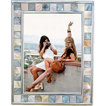 GIFTME 5 Silver Plate Gray Picture Frame 6x8 Mother of Pearl Wall Frame 6by8 Wedding Photo Frame Mosaic Glass Tabletop Picture Frame (Grey+ White)