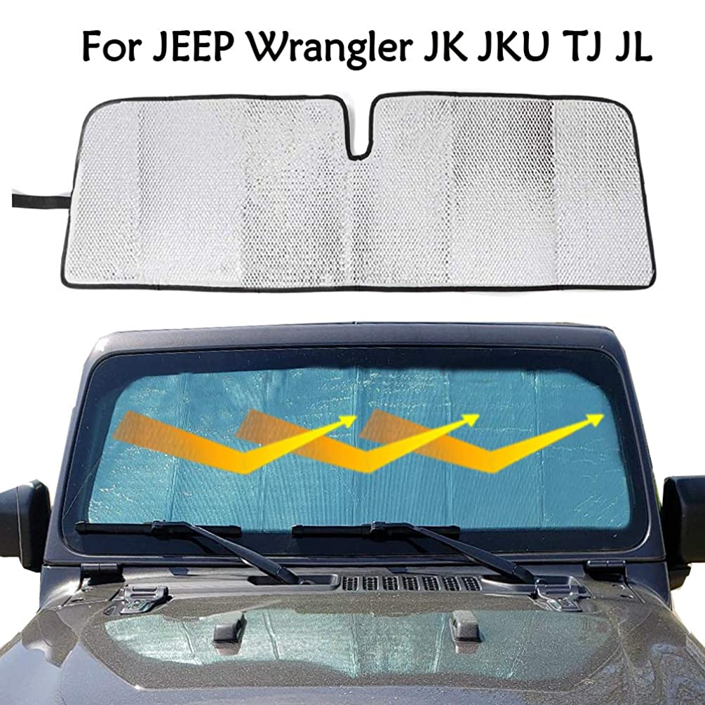 Big Ant Windshield Sun Shade for Jeep Wrangler JK JKU TJ JL,Car Windshield Sunshade UV Ray Reflector Auto Front Window Sun Shade Visor Shield Cover, Keeps Vehicle Cool - Silver&Black(51.9