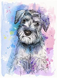 Schnauzer Art Print of Original Watercolor Painting, Pet Themed Party Home Wall Decor, Gift for Dog Mom, Dad, Parent; Rainbow Bridge Pet Loss Sympathy Bereavement Housewarming Animal Picture