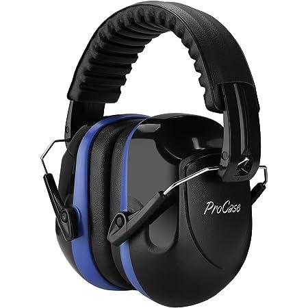 ProCase 大人用 防音イヤーマフ、遮音 調整可能なヘッドバンド付き 耳カバー 耳あて 聴覚保護ヘッドフォン、ノイズ減少率:NRR 28dB -ブルー