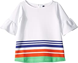Stripe Ruffle Sleeve Top (Toddler/Little Kids/Big Kids)