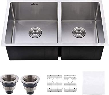 APPASO R321964 - Fregadero de cocina doble para fregadero (32 pulgadas, 60 x 40 cm, acero inoxidable, calibre 18, 25,4 cm de