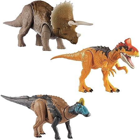 マテル ジュラシック・ワールド(JURASSIC WORLD) アクションフィギュア・アソート 3体入り BOX販売 ほえる! トリケラトプス(1体) ほえる! クリョロフォサウルス(1体) ほえる! エドモントサウルス(1体) アプリ連動 986B-GJN64