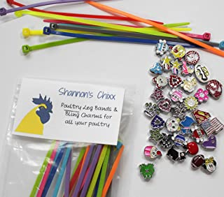 Shannon's Chixx ~ Colorful Poultry Leg Bands with Bling Charms ~ 20 Unique Charms