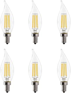 LED 5.5W Flame Tip Clear Filament Chandelier Light Bulb, 60W Equivalent, 500 Lumens, 3000K Soft White, Dimmable, 120V, E12 Candelabra Base, Energy Star, Clear (6 Pack)