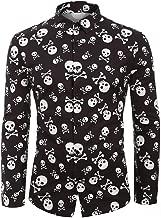 Bravetoshop Men's Autumn Winter Button-Down Shirts Long Sleeve Regular Fit Turn-Down Collar Halloween Dress Shirt