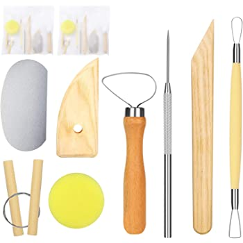 Pack of 2 Pottery & Polymer Clay Tools Kit, Steel Tips with Wooden Handles, The Most Essential Wooden Sculpting Clay Tools Combination for Pottery Modeling, Smoothing, 8-Pieces…