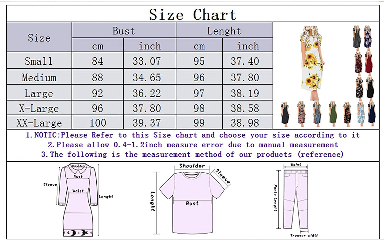 xoxing Womens Dresses for Summer Casual Crew Neck Short-Sleeved Floral Printed High-Waisted Tunic Dress with Pockets