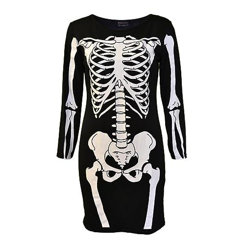 b47269e23594 Womens Ladies Halloween Skeleton Skull Bone Red Blood Heart Girls Bodycon  Costume Novelty Party Dress Tunic