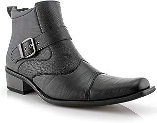 Ferro Aldo Alejandro MFA606326 Mens Memory Foam Casual High Western Buckle Strap Ankle Dress Boots