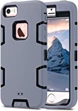 ULAK iPhone SE Case,iPhone 5S Case, iPhone 5 Case, Knox Armor Heavy Duty Shockproof Sport Rugged Drop Resistant Dustproof Protective Case Cover for Apple iPhone 5 5S SE-Grey+Black