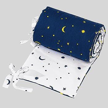 Bornino Home Nestchen Mond und Sterne - Polster fürs Bettchen mit Gestirnen-Print -schützt Babys vor Verletzungen im Schlaf - weiß/blau