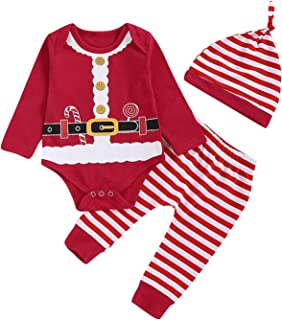 Aslaylme Christmas Elf Outfit Set Baby Boy Girl Xmas Striped Bodysuit with Hat