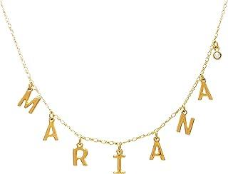 MINI DANGLE NAME - Collar de Nombre con Iniciales Mini Colgantes Personalizable con Cristal de Swarovski- Chapa de Oro Cal...
