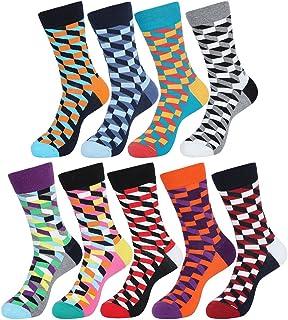 5 Pares Transpirable Moda Calcetines de Colores Estampados Calcetines de Algodón Hombre y Mujer E611-5