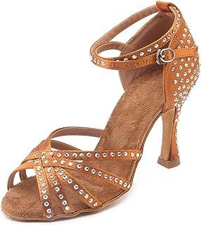 Pierides Women's Suede Sole Rhinestone Ballroom Dance Shoes Latin Salsa Glitter Performance Dance Shoes