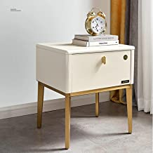 Fiberboard Bedside Table,1 Drawer Bedside Cabinet,Tall Metal Nightstand ,Non-slip Silicone Pad,Lacquered Coffee Table, Sid...