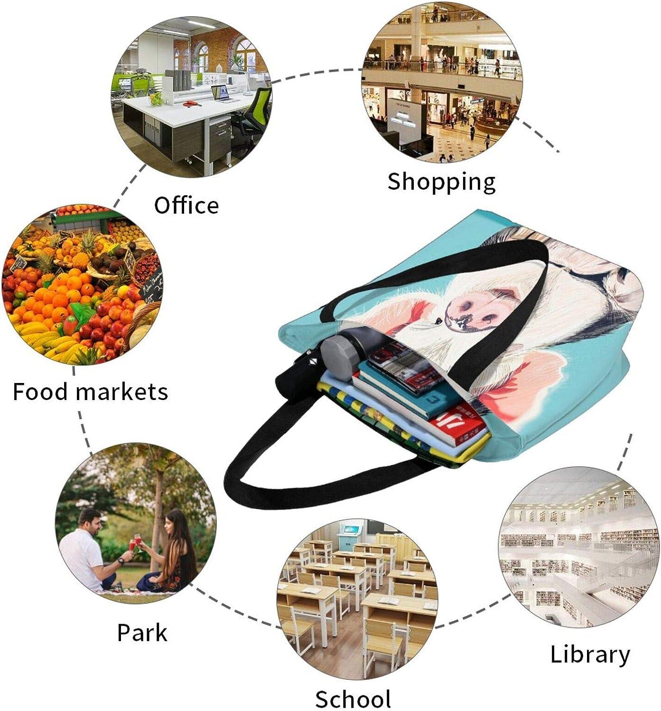 Cute Fat Pig Animals Blue Themed Printed Women Canvas Handbag Zipper Shoulder Bag Work Booksbag Tote Purse Leisure Hobo Bag For Shopping