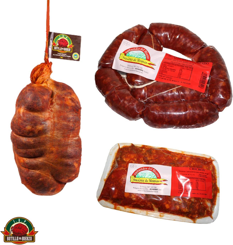 Embutidos Sta. Cruz de Montes | Botillo del Bierzo 1.4kg + Ristra de Chorizos dulces frescos 850 gr + Bandeja de Picadillo de Chorizo 600 gr. | El Sabor del Bierzo.