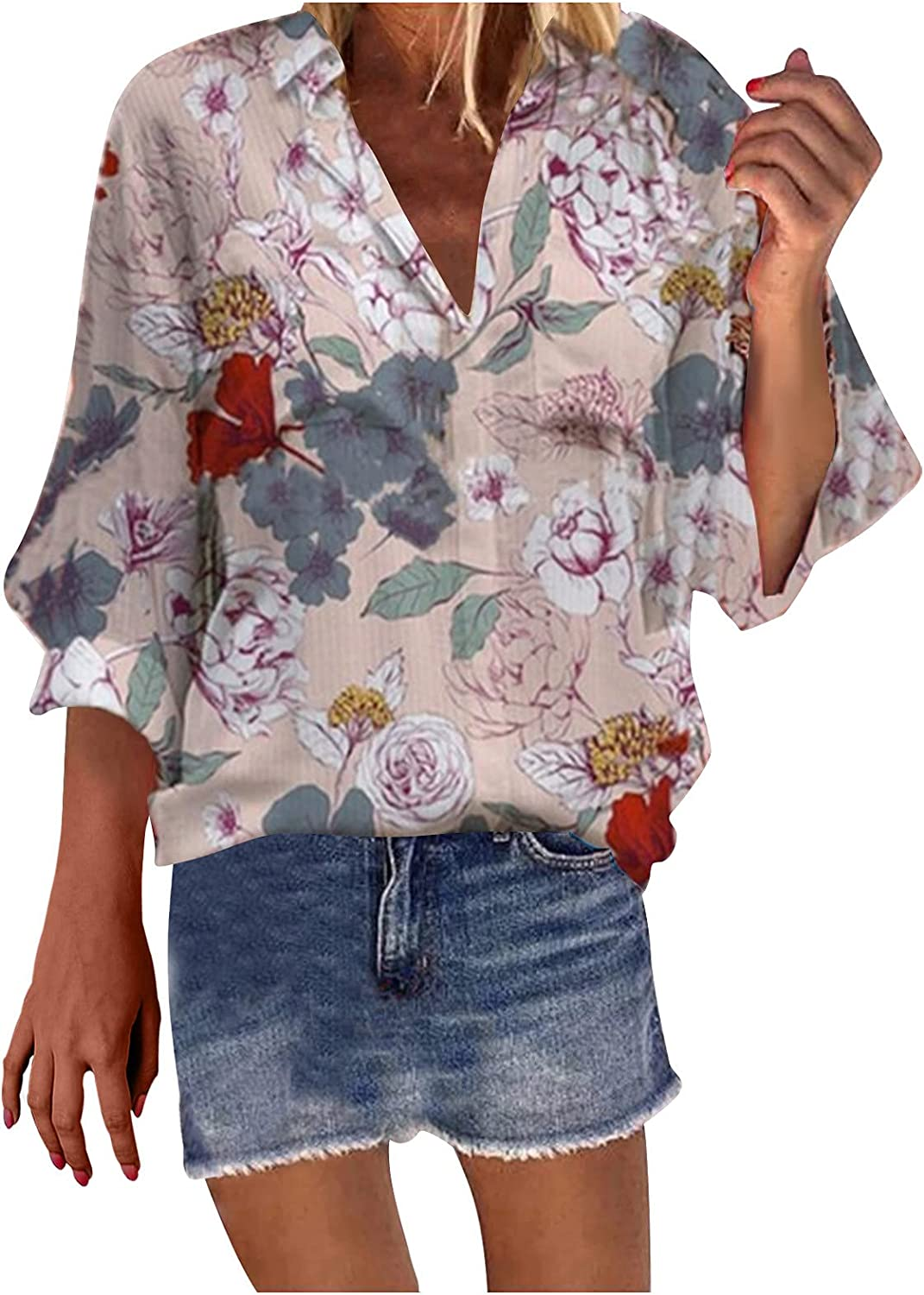 Summer Tops for Women Sexy V Neck Tunic Tops 3/4 Sleeve Shirts Funny Print Blouse Fashion Loose Tees