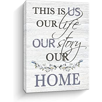 Inspirational Home Decor Wall Art, This Is Us Prints Signs Framed, Retro Artwork Decoration for Bedroom, Living Room Wall Decor, 12x15 Inch (White)