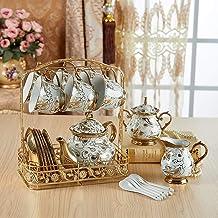 JYKJ European Style Ceramic Tea Set Coffee Cup Set Ceramic Water Cup European Luxury Afternoon Tea Tea Set Court Style Coffee Cup Set Bone Chinese Coffee Pot Set (Color : A)