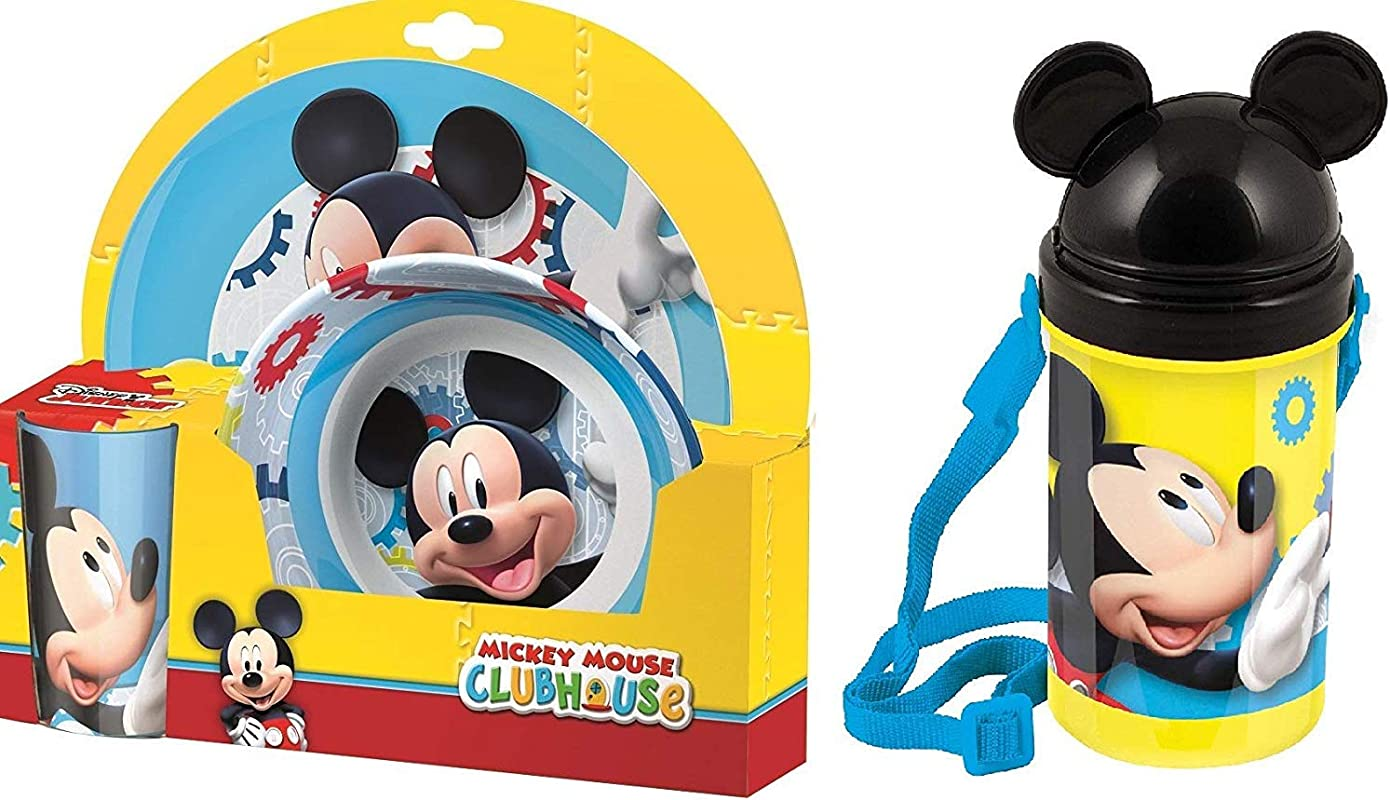 Mickey Mouse Meal Set With Plate Bowl Tumbler And Drinks Bottle