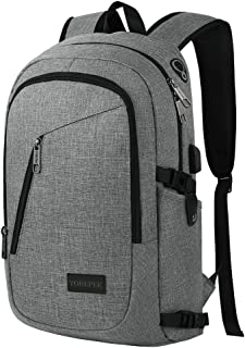 Business Laptop Backpack, Travel College School Computer Bag with USB Charging Port&Headphone Interface, Durable Water Resistant Bookbag for Boys Girls Women Men, Fits 15.6 Inch Laptop Notebook(Gray)