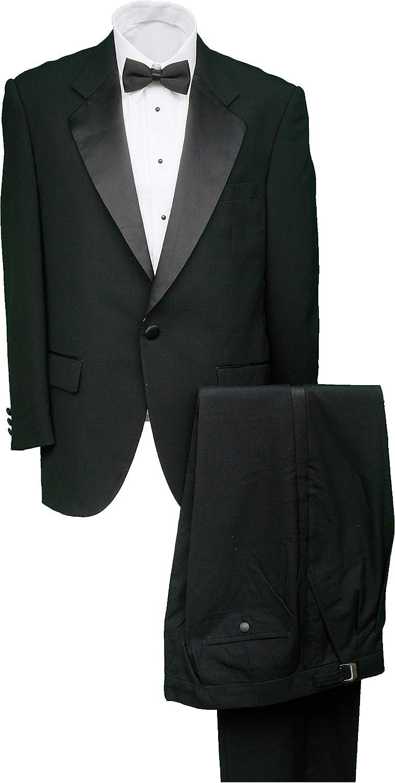 Mens 1 Button Black Classic Notch Collar Tuxedo Jacket