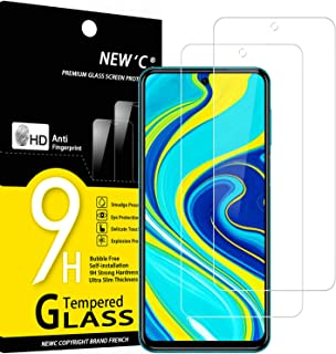 NEW'C 2-pack skärmskydd med Xiaomi Redmi Note 9S, Redmi 9 Pro, Redmi 9 Pro Max – Härdat glas HD klar 9H hårdhet bubbelfritt