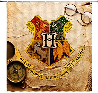 AMNYSF Vintage Badge Decor Shower Curtain Magic School of Witchcraft and Wizardry Logo Compass Glasses Mustard Yellow Backdrop Fabric Bathroom Curtains,70x70 Inches Polyester with Hooks