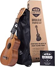 Kala Official Learn to Play Ukulele Soprano Starter Kit, Satin Mahogany – Includes online lessons, tuner app, and booklet (KALA-LTP-S) (Renewed)