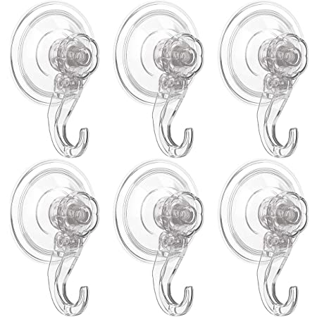 Luxear Adhesive Hooks, 6 Pack Wall Hooks Heavy Duty Bathroom Hanger No Drilling Removable Traceless Suction Towel Hooks Wall Hanging Waterproof Hooks for Coat Bathroom Kitchen Window Wreath