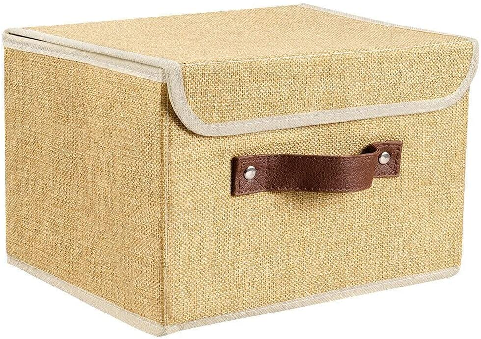 Linen Fabric Cube Storage Bins Max 76% OFF Bas Organizer Foldable Award-winning store Boxes Home