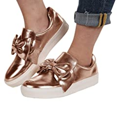 aa8b6f2c765 Womens Flatform Loafers Slip on Sneakers Penny Bow Tie Knot F ..