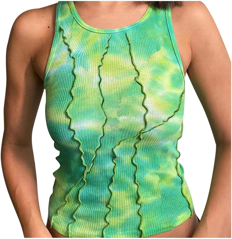 Womens Tie Dye Milwaukee Mall Tank Tops O-Neck Slim Casual Summer Sleeveless Ranking TOP16 Fi